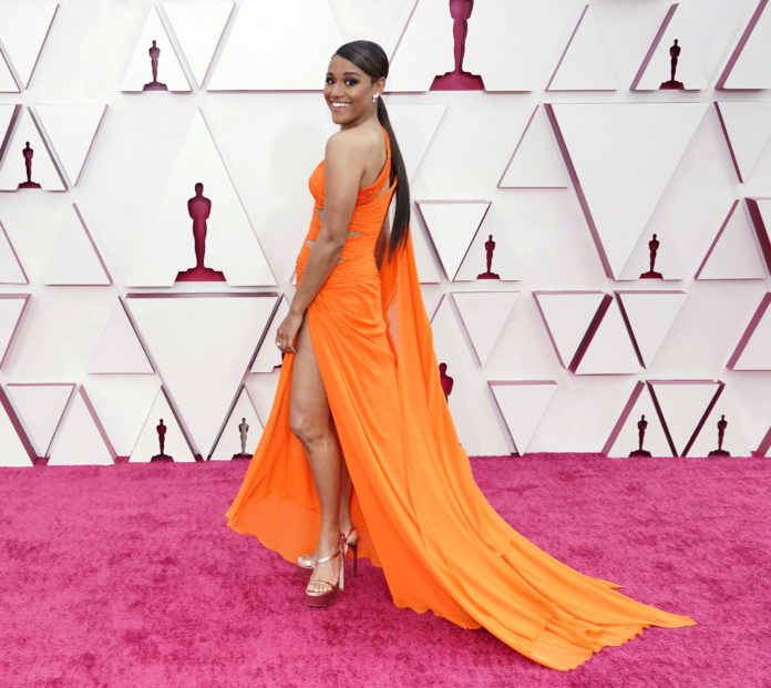 Ariana DeBose wearing Atelier Versace at the 93rd Annual Academy Awards.